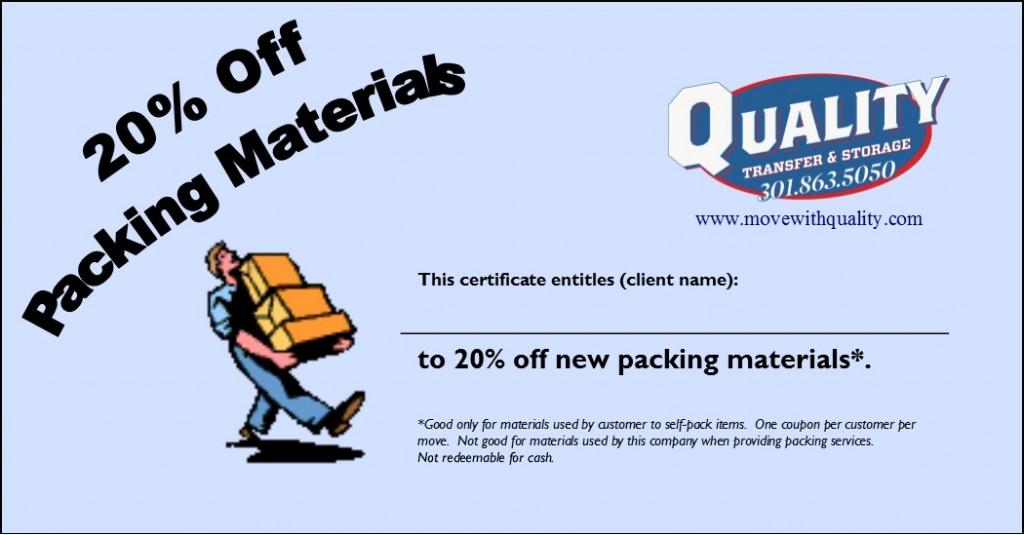 20% Off Packing Materials